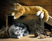 "liegende Katze ""Charly"" graugetiegert 4394 Fa. Kösen"