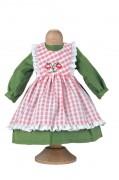Puppenbekleidung Leinenkleid mit Karoschürze von Käthe Kruse
