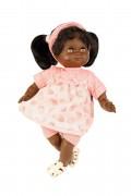Puppe, Schlummerle, 32 cm, schwarze Haare, braune Schlafaugen, Sommerkleidung, rose/weiss,  Artikel-Nr.: 5132852