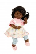 Puppe Schlummerle schwarz 37 cm schwarze Haare, braune Schlafaugen, Sommerkleidung rose/mint/gelb  Artikel-Nr.: 5137856