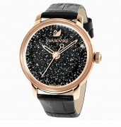 Swarovski, Armband Uhr, 5295377, CRYSTALLINE, HOURS, UHR, LEDERARMBAND, SCHWARZ, ROSÉ, VERGOLDETES, PVD-FINISH,