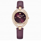 Neuware, Swarovski, Damen Armband Uhr, 55376839, STELLA UHR, LEDERARMBAND, DUNKELROT, ROSÉ VERGOLDETES PVD-FINISH, 9009653768399